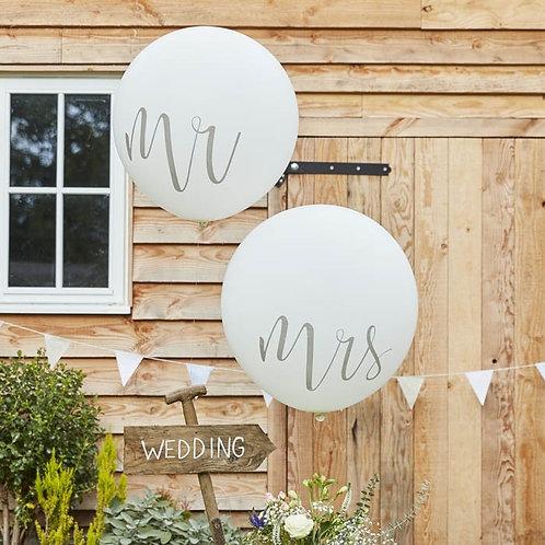 Mr & Mrs Bruiloft Huwelijks Helium Reuze Ballon 2 stuks inc helium