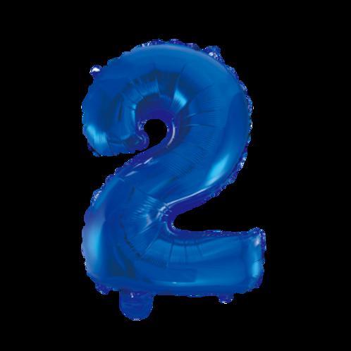 Blauw Cijfer Folie Helium Ballon 1 meter  | inclusief Helium