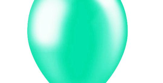 Metallic Helium Ballon Mint inclusief Helium en Lintje