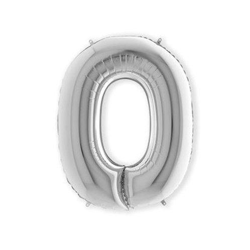Letter Folie Zilver   O tm Z inclusief Helium