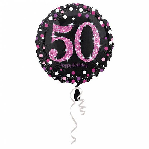 Happy Birthday 50 jaar roze 43 cm
