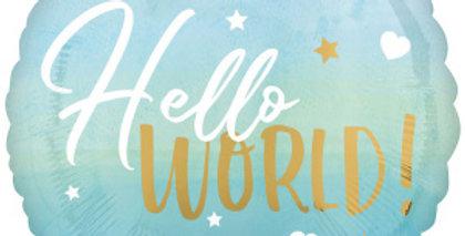 Hello World 45 cm Inclusief Helium en Lintje