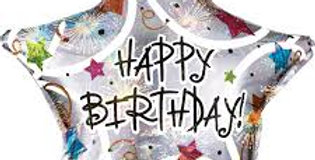 Verjaarsdag helium ballon Happy Birthday Ster  Helium Ballon 43 cm inc Helium