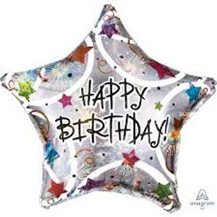 Happy Birthday Ster  Helium Ballon 43 cm inc Helium
