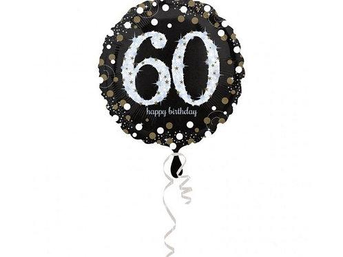 Happy Birthday 60 jaar zilver 43 cm