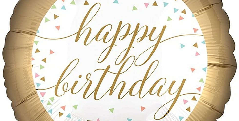 Verjaarsdag Folie helium ballon Happy Birthday Folie Goud 43 cm inc Helium