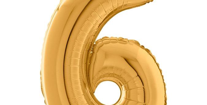 Cijfer Ballon 6 Goud Almere bestellen