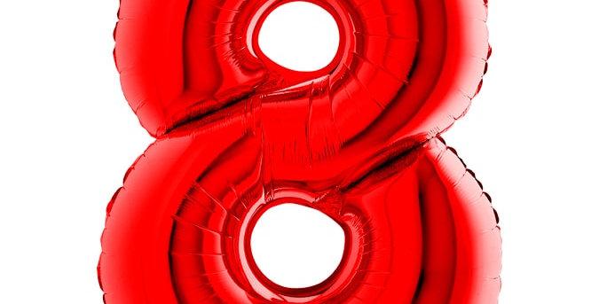 Cijfer Ballon 8 rood Almere bestellen