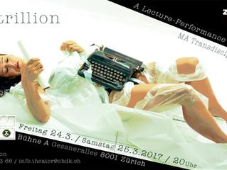 """70 trillion -  A Lecture-Performance by Lou Sturm"""
