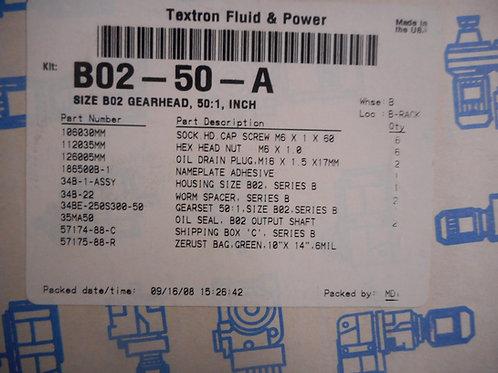 Cone Drive B02-50-A Size B02 Gearhead, 50:1 Ratio