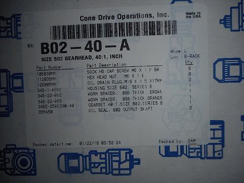 Cone Drive B02-40-A Size B02 Gearhead, 40:1 Ratio