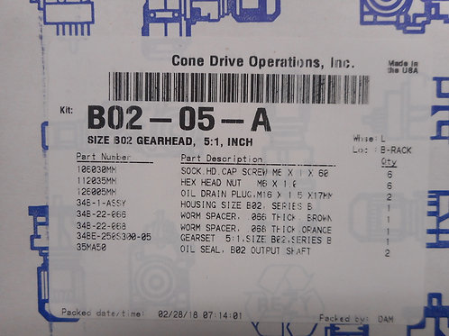 Cone Drive B02-05-A  Size B02 Gearhead, 5:1 Ratio