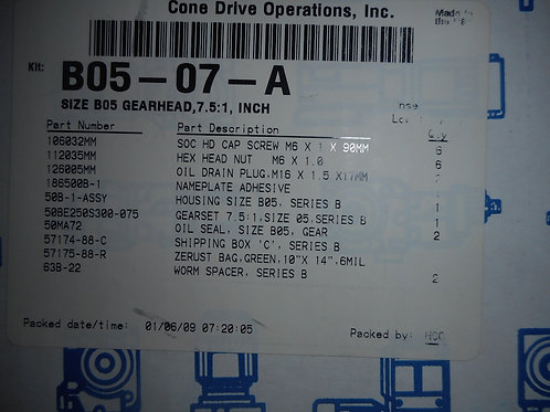 Cone Drive B05-07-A Size B05 Gearhead, 7.5:1 Ratio