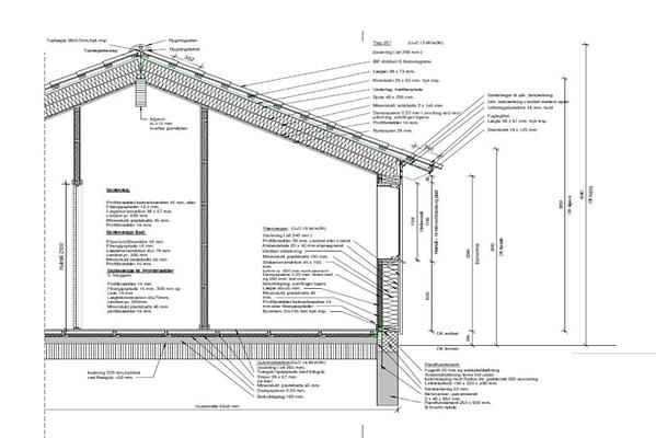 Snittegning m. sokkeloplysninger byggeri