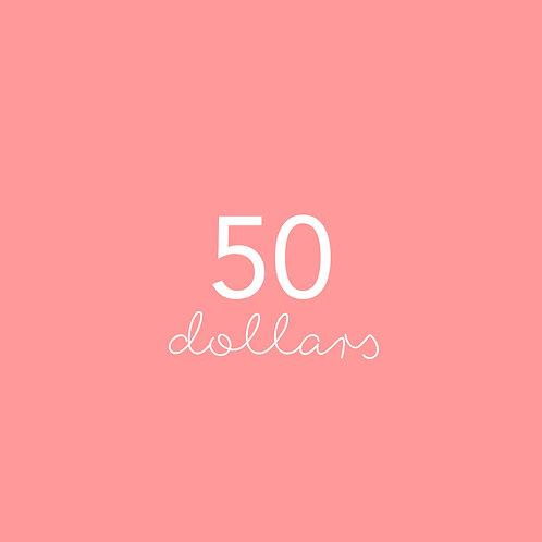 Fifty Dollar gift voucher