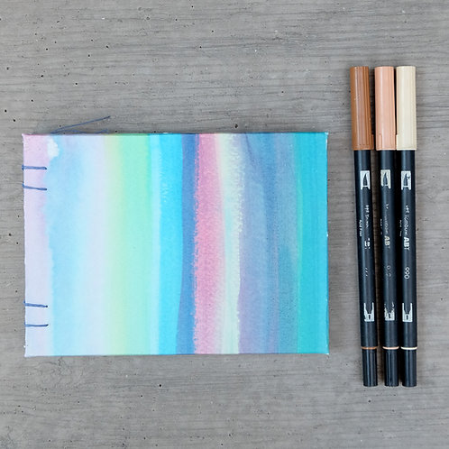 Handmade Journal / Pastel Stripes / 5 X 7 Landscape