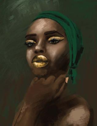 Black Woman + Gold Makeup