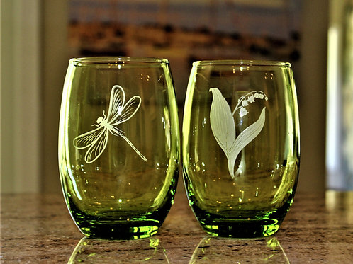 Stemless wine glasses green
