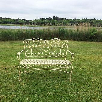 Garden bench seat wedding rental