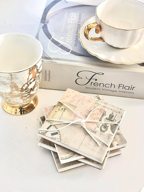French Wallpaper Coasters (4 set)