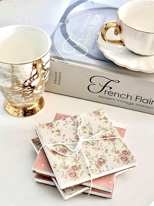 Cottage Paper Coasters (4 set)