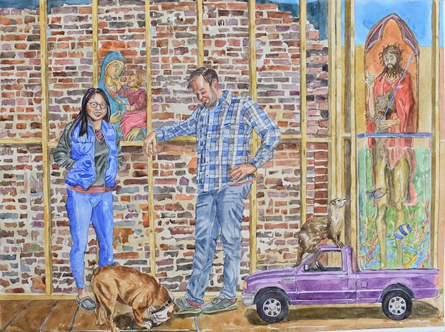 Scott, Jenn, and the Bulldog, Charlie