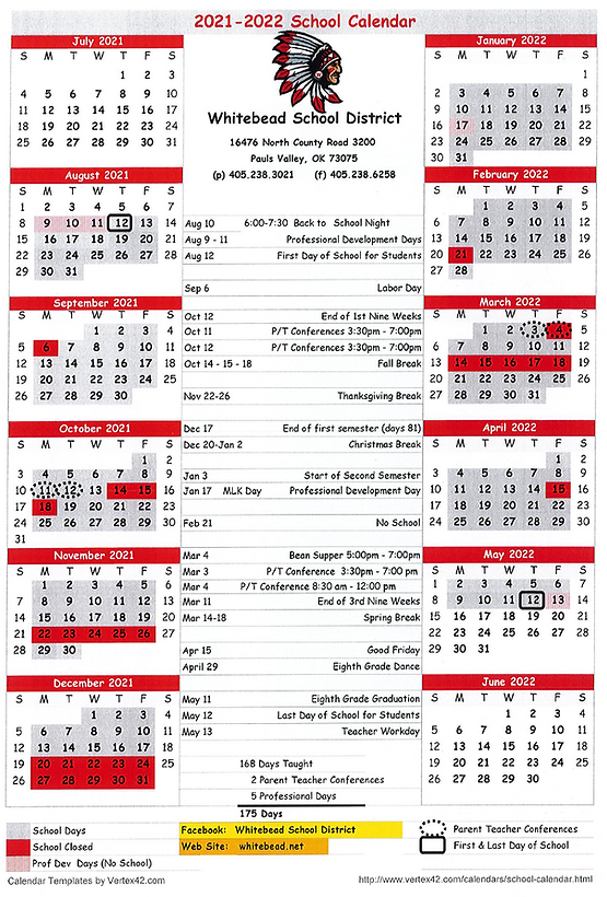 Whitebead School Calendar