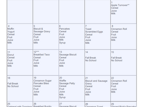 Breakfast and Lunch Menus for October 2021