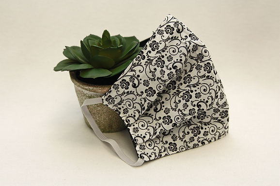 Black & White Floral Face Mask