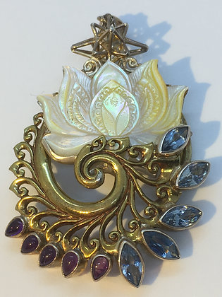 Gold Plated Lotus Swirl Pendant