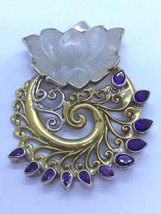 Gold Plated Purple flame lotus Pendant