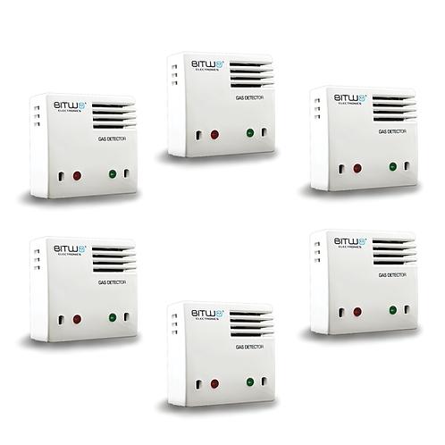 6 Piezas:Detector De Gas Lp Natural Humo Y Monoxido De Carbono | Bitwo Modelo A1