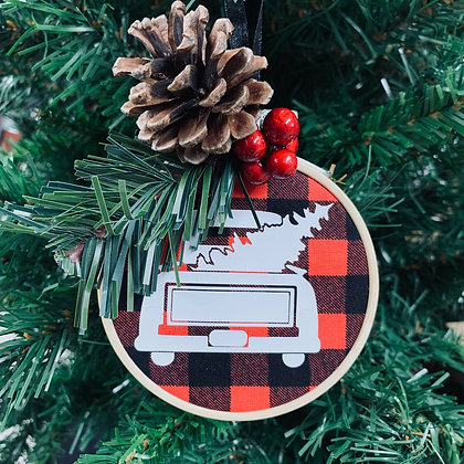 Plaid Ornament - Truck