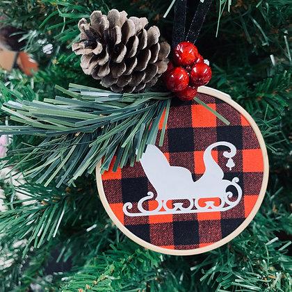Plaid Ornament - Sleigh