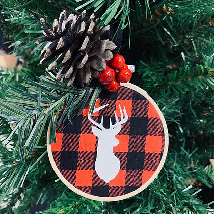 Plaid Ornament - Deer Head