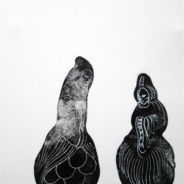 Jan Sajdak Babuszki grafika 30 na 50 cm.