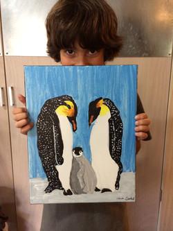 Penguin Family acrylic on canvas