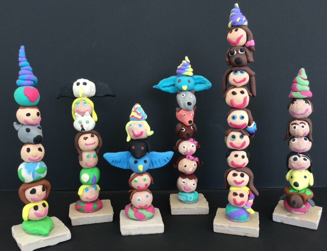 Polymer clay totem poles