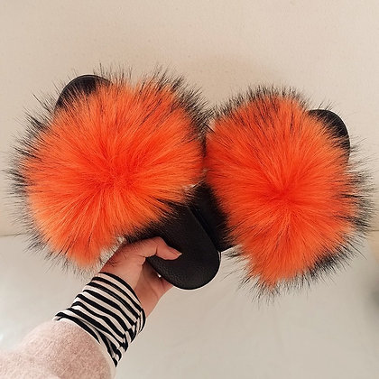 Sunset Orange Faux Fur Slides