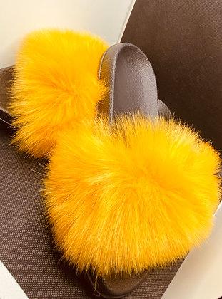 Sunflower Faux Fur Slides