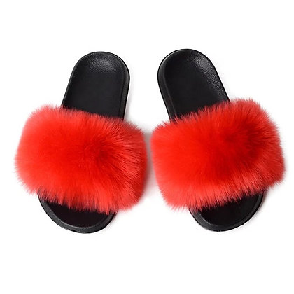 Apple Of My Eye Faux Fur Slides