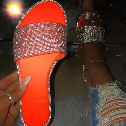 Neon Orange Glitter Flats
