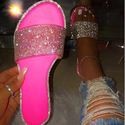 Neon Pink Glitter Flats