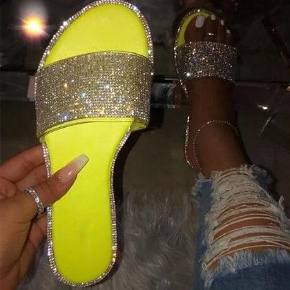 Neon Yellow Glitter Flats
