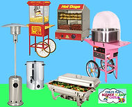 chafing dishes, fairy floss machine, popcorn machine, hot water urn, outdoor heaters and  jumping castle hire melbourne and best bouncy castle rentals and party hire melbourne
