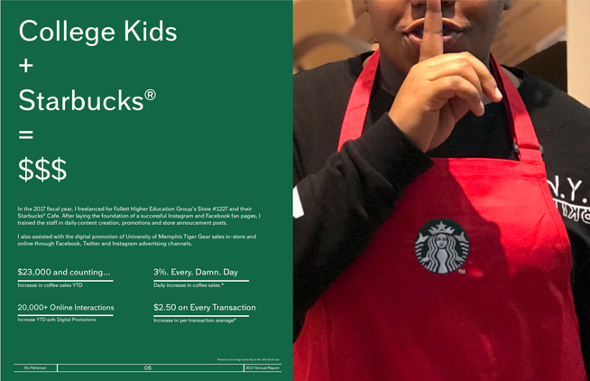 Page of a Annual report for local Starbucks Cafe