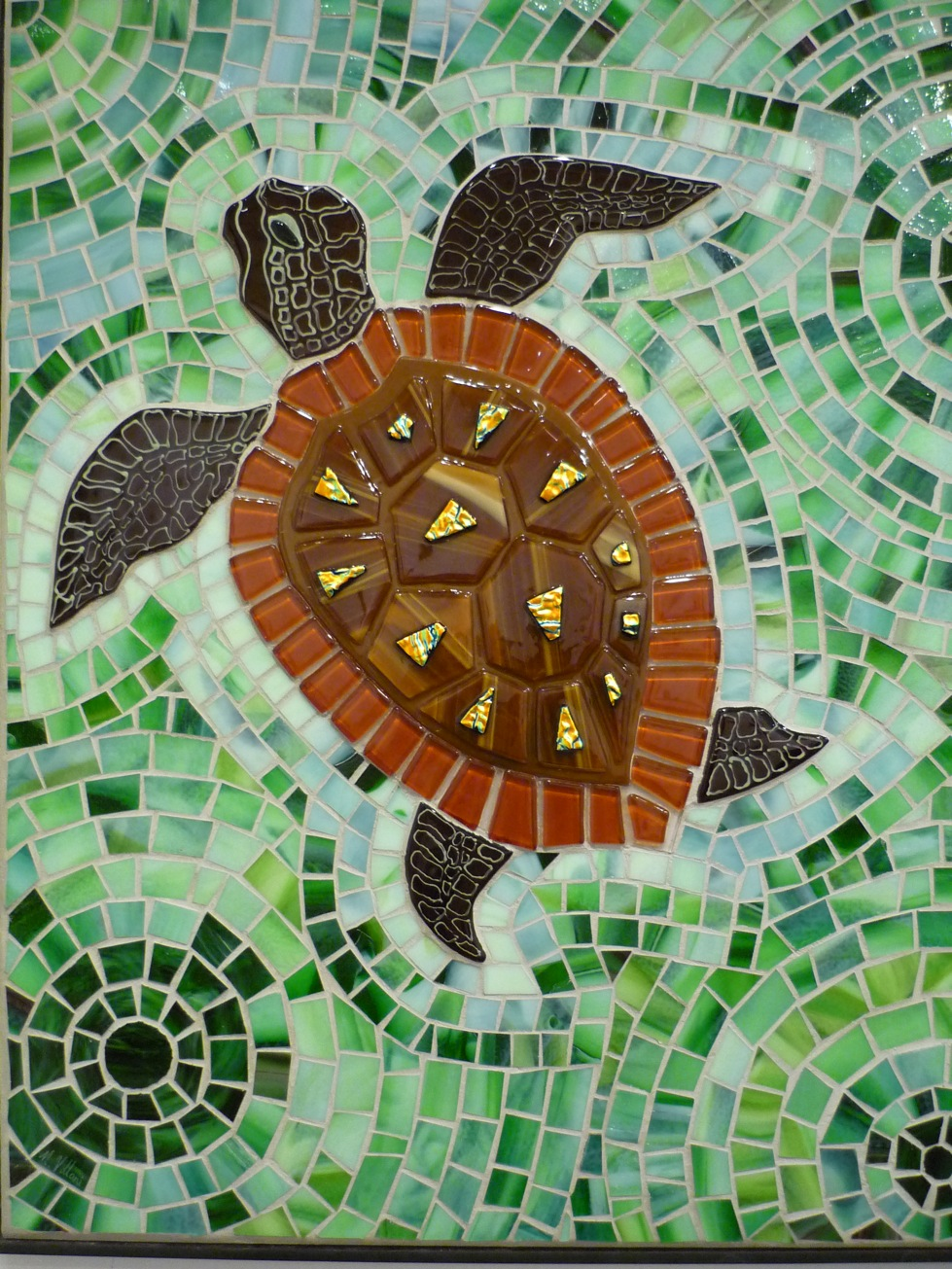 Swimming turtle seagreen 2