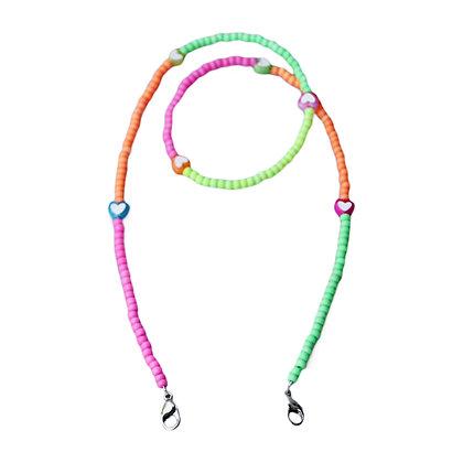 Neon Multi & Hearts Mask Chain