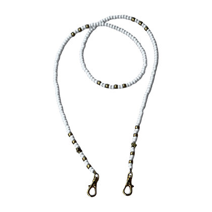 White & Silver with Silver Stars Mask Chain