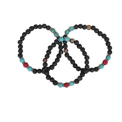 Turquoise & Coral Wood Bracelets